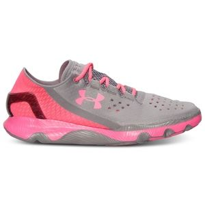 UA Grey & Pink SpeedForm Apollo Running Shoes 9.5